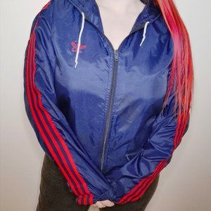 Vintage 80's Adidas Winbreaker (Navy/Red Stripes)